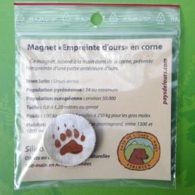 """Magnet en corne """"empreinte d'ours"""""""