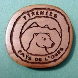 """Magnet en merisier """"Pyrénées - Pays de l'Ours"""""""